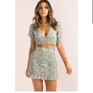 Sundae Muse Skirt and Crop Top Set in Sage